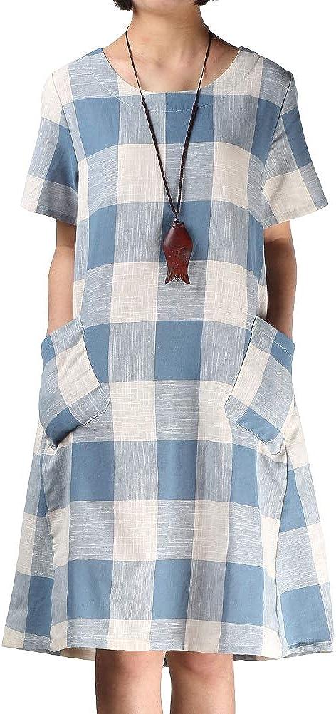 FTCayanz Women's Linen Shirt Dresses Summer Casual Short Sleeve Plaid Tunic Midi Dress