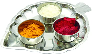 Leaf Shaped Thali with Haldi Kumkum Containers Pooja Thali Set in Steel for Festival,Valentine Day Gifts