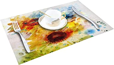 Placemat Standard Size, Watercolor Place Mats Set, Abstract Sunflower Multicolor Placemats Stain Resistant Anti-Skid Washable