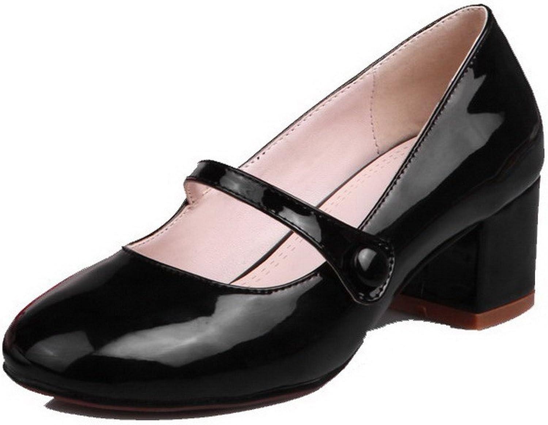WeenFashion Women's Kitten-Heels Solid Pull-On PU Round-Toe Pumps-shoes