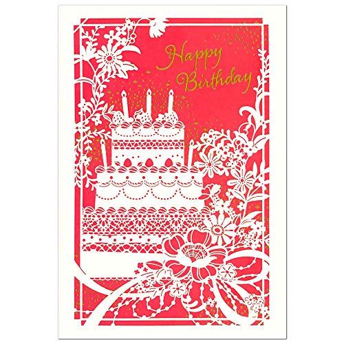 バースデーカード レーザーカット ケーキ 1856303 二つ折り 中紙付き エヌビー 誕生日カード Birthday Card グリーティングカード お誕生お祝い メール便可