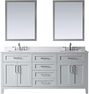 Ove Decors Dove Grey Maya 72 Double Vanity with Marble Top, Backsplash and Two Mirrors, 72 inches