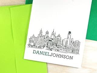 Personalized Stationery Set of Philadelphia, Philadelphia Art Stationary Thank You Cards
