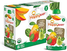 Happy Baby Organic Stage 2 Baby Food Simple Combos Spinach Mango & Pear, Resealable Baby Food Pouches, Fruit & Veggie Puree, Organic Non-GMO Gluten Free Kosher, 4 Ounce Pouch, Pack of 16