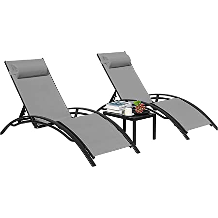 Recliner Lounge Chair Bed with 4 Level Adjustable Backrest and Wheels Garden Sun Lounger Rest Recliner Chair with Textilene Fabric Steel Frame for Garden Patio Home Office Beach Camping