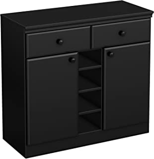 South Shore 2-Door Storage Sideboard with Drawers, Pure Black