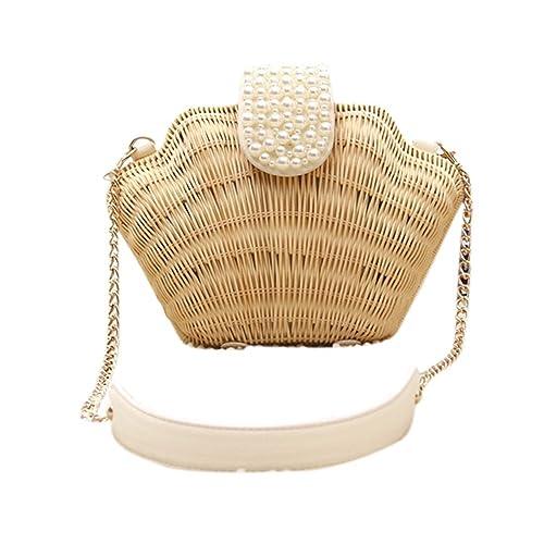 Bronze Times (TM) Womens Manmade Straw Pearl Shell Weave Purse Crossbody Bag