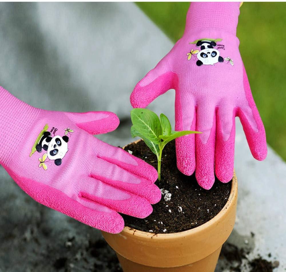 palma de goma para resistencia al agua y a la suciedad 4 a 7 a/ños old, pink QEAR Safety Guantes de jardiner/ía para ni/ños de 4 a 7 a/ños y 8 a 10 a/ños
