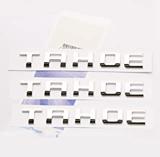 Yoaoo 3x OEM Chrome Tahoe Nameplate Emblems Badge 3D Alloy Letter for Tahoe Glossy Shiny
