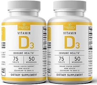 Vitamin D3 2,000 IU (2-pk) - Support Immune System Health, Promote Strong Bones. Non-GMO, Gluten Free, Lactose Free. 150 C...