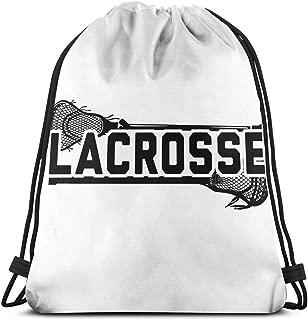 Lacrosse Unisex Portable Gym Drawstring Backpack Shoulder Bags Lightweight Travel Sport Yoga Rucksack