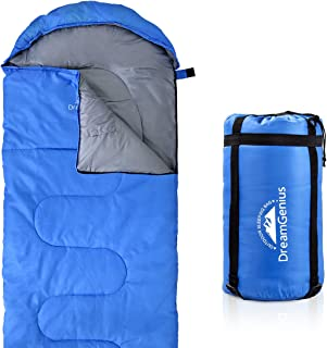 DreamGenius Sleeping Bag Envelope Lightweight Comfort with Compression Sack for 4 Season Camping