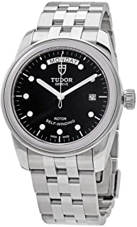 Glamour Day & Date 56000 Black Dial Stainless Steel 39mm Men's Watch
