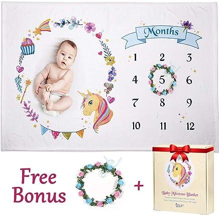 Baby Milestone Blanket for Girl,  Boy - Soft,  Large 60x40