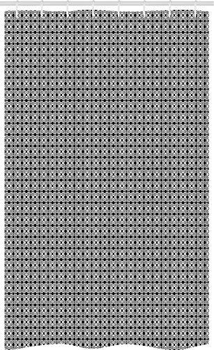 ABAKUHAUS meetkundig Douchegordijn, Diamond Formulieren in Frame, voor Douchecabine Stoffen Badkamer Decoratie Set met Ophangringen, 120 x 180 cm, Zwart en wit