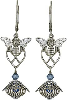 NoMonet Hand Painted Flower Fairy Earrings - In the Arbor Earrings - Silver and Blue