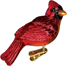 Old World Christmas Ornaments: Resting Cardinal Glass Blown Ornaments for Christmas Tree