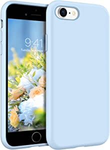 YINLAI iPhone SE 2020 Case, iPhone 8 Case, iPhone 7 Case, Slim Liquid Silicone Hybrid Soft Gel Rubber Shockproof Bumper Protective Phone Cover for iPhone SE 2nd Generation/ 8/7 Baby Light Blue