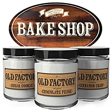 Scented Candles - Bake Shop - Set of 3: Sugar Cookie, Chocolate Fudge, and Cinnamon Crisp - 3 x 4-Ounce Soy Candles - Each Votive Candle is Handmade in the USA with only the Best Fragrance Oils