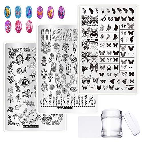 EBANKU 3 Pcs Nagel Stempelschablonen Stempelplatte Nail Art Plates Set, NagelStempel Maniküre Stamper Scraper 150 Schmetterling Blume Traumfänger Muster mit 1 Stempel und 1 Schaber