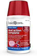 Basic Care Dual Action Complete Famotidine 10 mg/Calcium Carbonate 800 mg/Magnesium Hydroxide 165 mg Tablets, 50Count