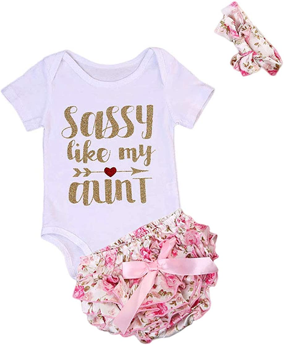MAINESAKA Newborn Infants Baby Girls Long Sleeve Romper Bodysuit Playsuit Bow-Knot Headband Outfits