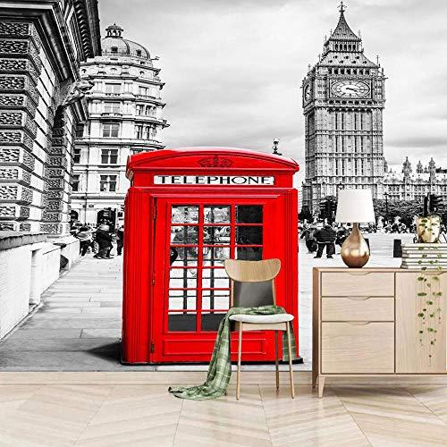 SUUKLI Papel Pintado Fotográfico Autoadhesivo Cabina De Teléfono Roja De Londres 200X140Cm Fotomurales Tejido No Tejido Salón Dormitorio Despacho Pasillo Decoración Murales Decoración De Paredes Moder