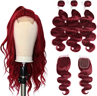 X-TRESS Brazilian Remy Hair Burgundy Bundles with Free Part Lace Closure Body Wave Human Hair Weave 100% Virgin Human Hair Weave Burgungy Red Hair Bundles Mixed Length (16 18 20 +14)