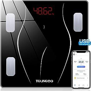 Báscula Grasa Corporal, YOUNGDO Báscula Baño Digital Bluetooth Inteligente Con USB Carga 23 Medidas Corporales Esenciales (Grasa Corporal/Músculo/BMI etc.) 999 Usuarios para Android e iOS