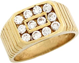 Jewelry Liquidation 10k Yellow Gold Mens Round Cut CZ Rectangle Cluster Ring with Detail
