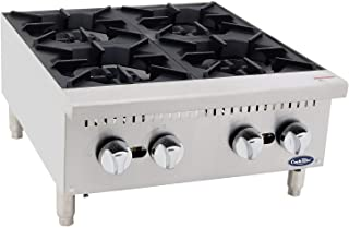 """24"""" Freestanding Commercial Gas Cook Stove Range with 4 Burners, Cook Rite Stainless Steel Gas Hot Plate Burner- 100000 BTU"""