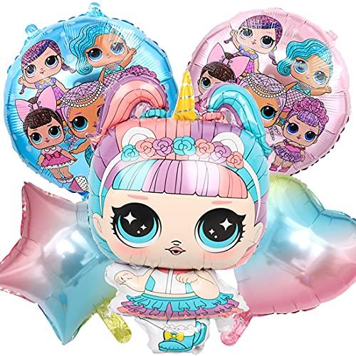 Juego de 5 globos de decoración para cumpleaños de L.o.l, adecuados para niños, globos de papel de aluminio, decoración para cumpleaños de niños, decoración de fiesta (1)