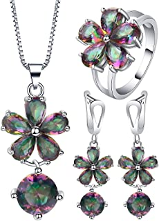 VPbao Flower Round Crystal Pendant 925 Sterling Silver Plated Jewellery Sets Multicolor
