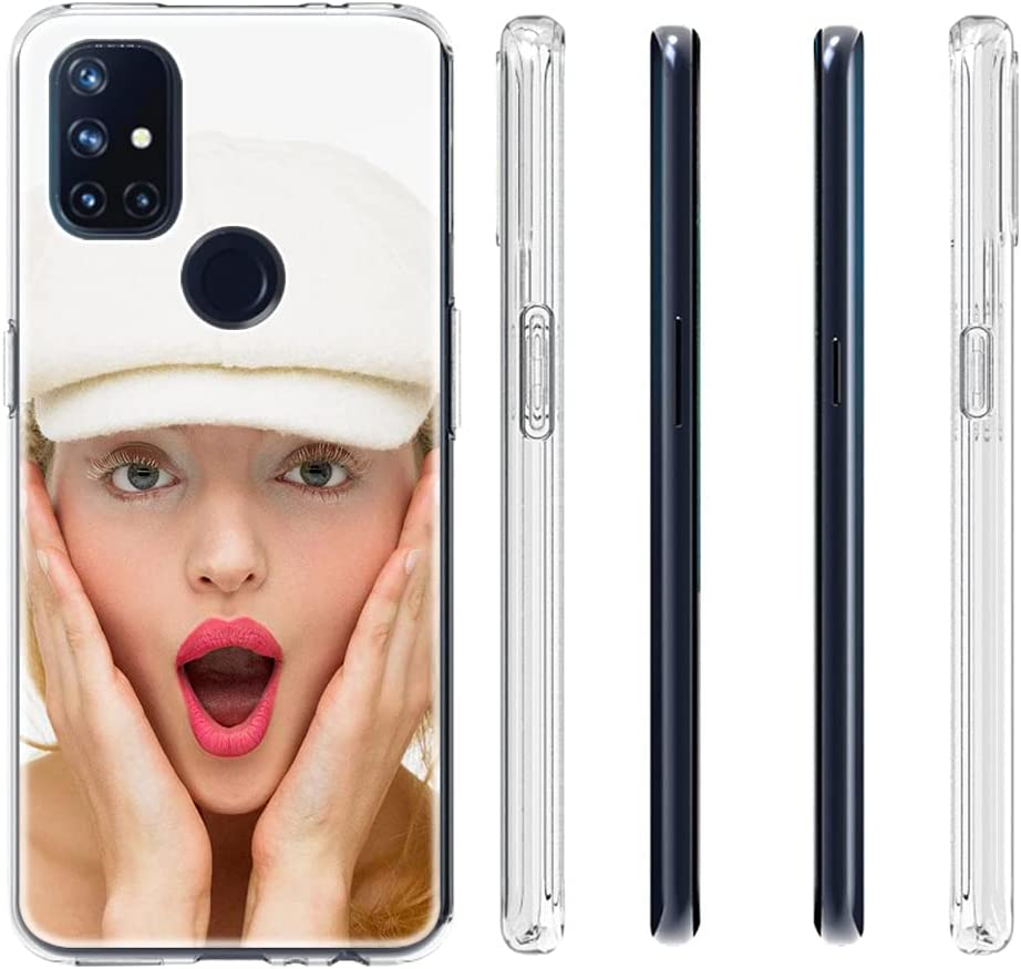 Custom Clear Case Compatible with OnePlus Nord N10 5G 6.49'' with Your Photo and Name Phone Case with 1 Pack Screen Protector for Ladies,for Girls,for Women,for Mother,for Men(Clear Layout 3 Pictures)