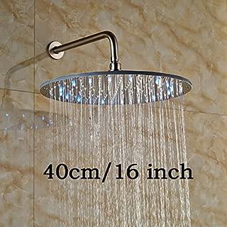 LED luz 16inch gran las precipitaciones baño ducha Head soporte de pared latón ducha brazo y níquel cepillado alcachofa de ducha