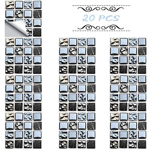 Xnuoyo Adhesivo Para Azulejos, Pegatinas Para Azulejos De Piso De Pared Pvc, Pegatina De Pared De Mosaico 3d, Paneles De Pared Autoadhesivos, Decoración Para Cocina, Baño, Hogar -20pcs(15*15cm)