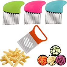 AiTrip Cut Set, Slicing Helper 3 Stainless Steel, Fruit and Vegetable Wavy Chopper Knife, Potato Onion, 4.8 x 4.1 x 2.2 in...