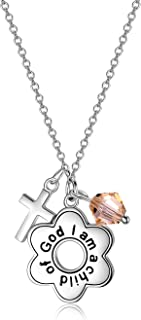 """Sterling Silver""""I Am a Child of God"""" Daisy Necklace Jewelry Birthday Gifts for Girls"""