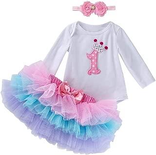 Marlegard Long Short Sleeves Baby Girls' 3PCs Pink 1st Birthday Jumpsuit Tutu Skirt Headband