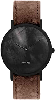 South Lane Swiss Quartz Stainless Steel and Leather Casual Watch, Color:Black (Model: core-SL-189)