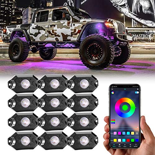 RGB Rock Lights 12 Pods Multicolor Underglow Neon Lights Wheel Well Lights with Phone App Control Timing, Flashing, Music Mode Trail Rig Lights for Off Road Truck SUV Utv ATV Boat