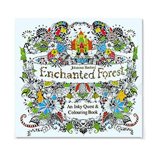 Livro de colorir para adultos, design aliviador de estresse mandalas/oceano perdido/viagem no tempo (floresta encantada)