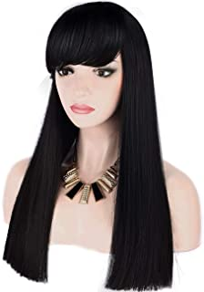 Sotica Straight Long Black Wig with Bangs Heat Resistant Synthetic Hair Wigs Beautiful Natural Looking Hair Replacement Wigs for Women