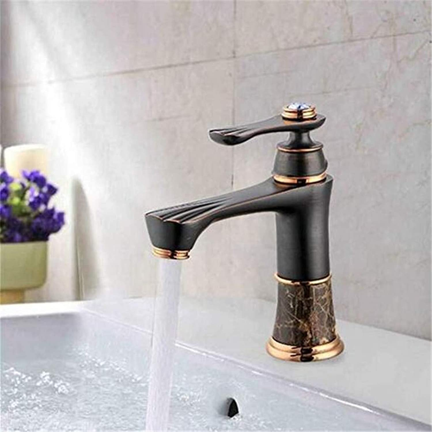 Modern Hot and Cold Vintage Platingfaucets Basin Mixer Single Hole Short Basin Faucet Copper Mixing Faucets