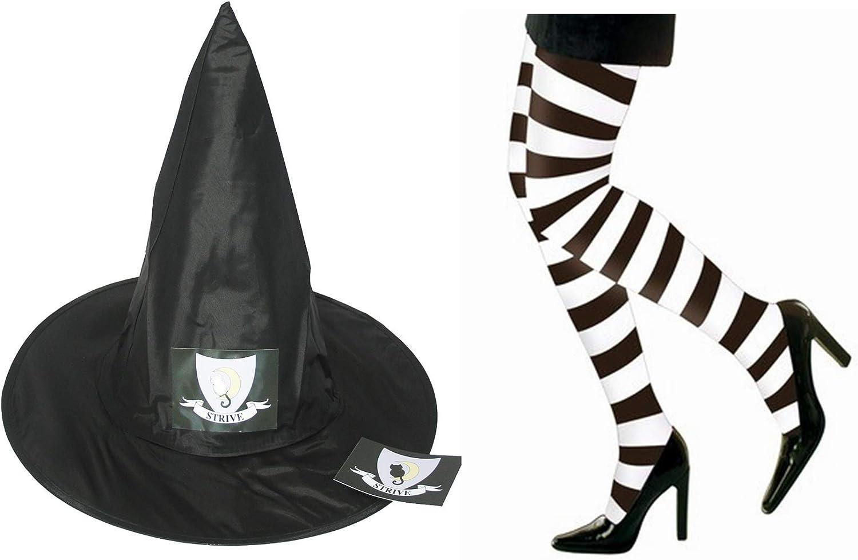 M F D Adult Worst Witch nero Pointed Hat & Strive Badge Sticker & XL nero & bianca Striped Tights Set