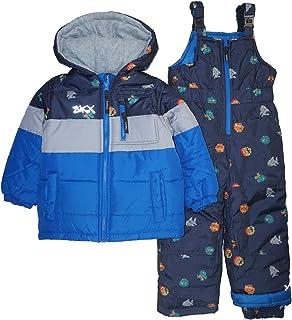 Skechers Boys' Toddler 2-Piece Heavyweight Snowsuit, Blue Monster, 2T
