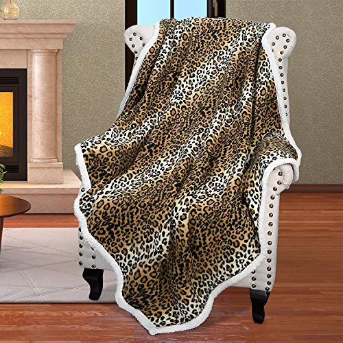 Sherpa Fleece Throw Blanket, Soft Mink Plush Couch Blanket, TV Bed Fuzzy Blanket, Fluffy Comfy Warm Heavy Throws, Comfort Caring Gift, Cheetah 50x60 inches