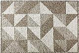 Delgeo Door Mat-Geometry Non-slip,Dirt Trapper Door Mat, Machine Washable Soft Doormat, Barrier Rug & Entrance Rug for Front Back Door, Indoor, Entryway, Hallway 60 x 90 cm(Brown)