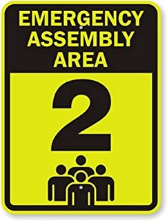 Emergency Assembly Area, Fluorescent Yellow Green Diamond Grade Reflective Aluminum Sign, 18