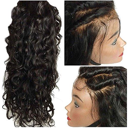 Helene Hair Onda natural 4x4 Silk Top Lace Wigs Cabello Virgen Brasileño Pelucas delanteras del cordón con el pelo del bebé 130% Densidad ( 22